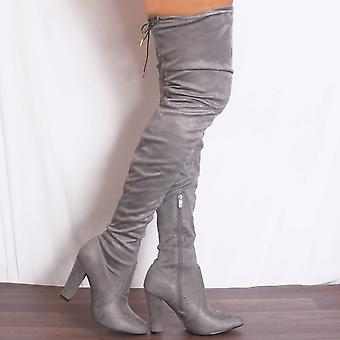 Shoe Closet Grey Knee Boots - Ladies Grey Sabrina4 Thigh High Over The Knee Stretch High Heels Stilettos  Boots
