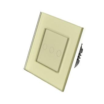 I LumoS Gold Glass Frame 3 Gang 1 Way WIFI/4G Remote Touch LED Light Switch Gold Insert