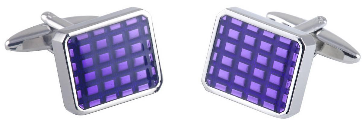David Van Hagen Rectangle Epoxy Sqaures Cufflinks - Silver/Purple