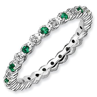 Sterling Silver Stackable Expressions Cr. Emerald and Diamond Ring - Ring Size: 5 to 10