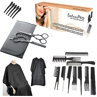 SalonPRO - 20pcs Professional Hairdressing Kit with 5.5 Inch Precision Cut and Thinning Scissors in Leather Case 10 Pcs Barbers Combs Set Hair Cut Black Cape Gown Easy Clean and Dry 6pcs Alligator Hair Clips
