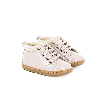 Shoo Pom Bouba Wool Pink Patent Leather Ankle Boots With Wool Top
