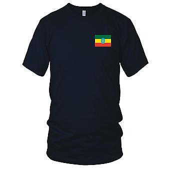 Ethiopia Country National Flag - Embroidered Logo - 100% Cotton T-Shirt Kids T Shirt