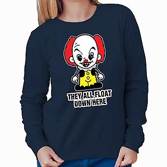 It Pennywise Cartoon They All Float Down Here Women's Sweatshirt