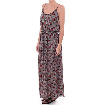 Maison Scotch Maxi Dress With Star Print And Shoestring Straps