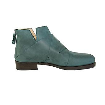 Quoque ladies M10053 green leather ankle boots