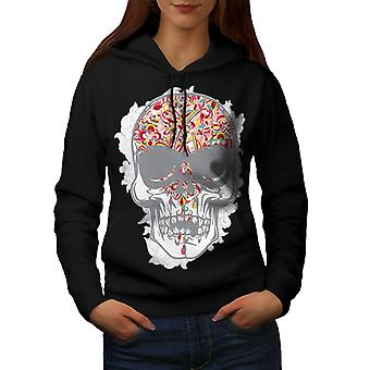 Face Head Skull Women BlackHoodie | Wellcoda