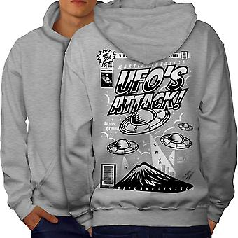 Mars Being Attack Men GreyHoodie Back | Wellcoda