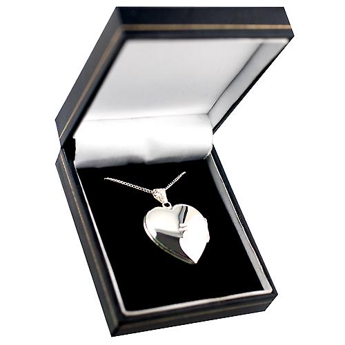 Silver 30x28mm handmade diamond set heart Locket with Curb chain
