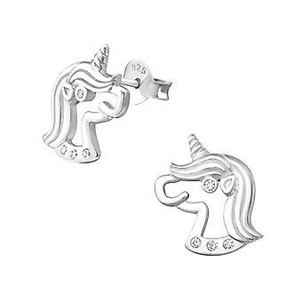 Unicorn - 925 Sterling Silver Cubic Zirconia Ear Studs - W33860X