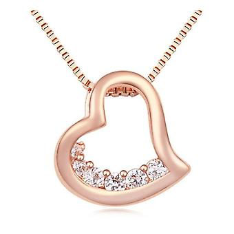 Womens Rose Gold Small Heart Pendant Necklace Crystal Stones BG1302