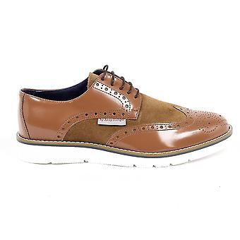 Andrew Charles Mens Brogue Oxford Shoe 914 Abrasivato Camoscio Cognac