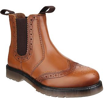 Amblers Safety Mens & W Dalby Casual Pull On Leather Brogue Boots