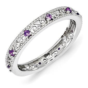 3mm Sterling Silver Polished Prong set Rhodium-plated Stackable Expressions Amethyst Ring - Ring Size: 5 to 10