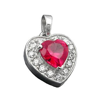 Heart charm silver heart cubic zirconia pendant red rhodium-plated Silver 925