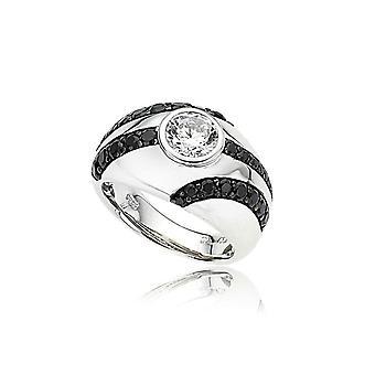 Orphelia plata 925 anillo Solitaire línea negra circonio ZR-3678