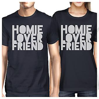 Homie Lover Friend Navy Matching Couple T-Shirts Gift For Husbands
