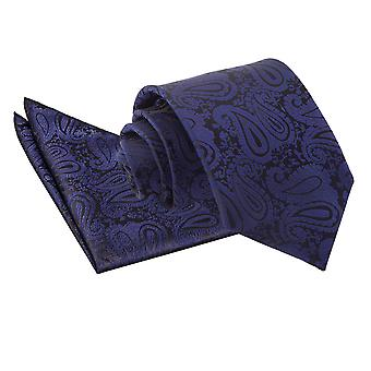 Navy Blue Paisley Tie & Pocket Square Set