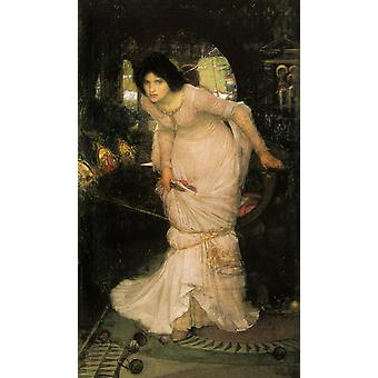 The Lady of Shalott, John William Waterhouse, 40x60cm with tray