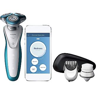 Philips Serie 7000 angeschlossenen Rasierer mit Peeling Pinsel und Trimmer Attachment (UK-Bad 2-Pin-Stecker) - S7921/51/EWG