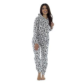 Foxbury Womens Fleece Polar Animal Print Twosie Pyjama Set