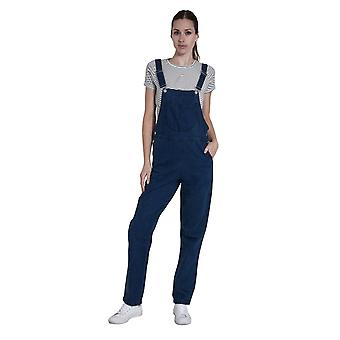 Ladies Darkwash Denim Dungarees Regular Fit Bib-Overalls