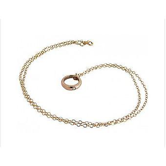 Baptême, anneau or plaqué or plaqué avec anneau de baptême de collier de diamant de bijoux pour bébé rose