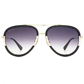 Gucci Pilot Sunglasses In Gold Black Cream