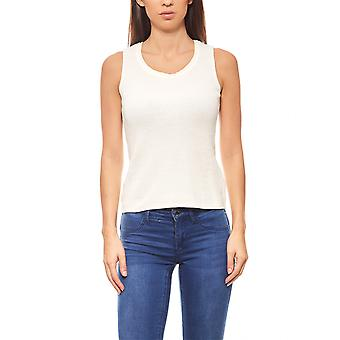 Ashley brooke ladies round neck pullovers ribbed white