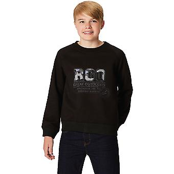 Regatta Boys & Girls Breck Graphic Marl Fleece Warm Sweater Jumper