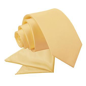 Pale Yellow platte satijnen stropdas & zak plein voor jongens instellen