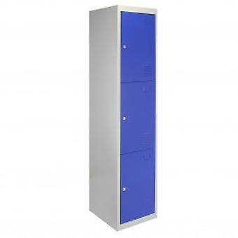 Metal Storage Lockers - Three Doors, Flatpacked, Blue