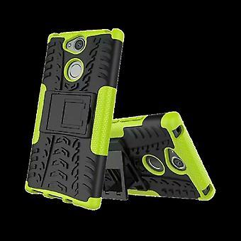 Hybrid Case 2teilig Robot Grün für Sony Xperia XA2 Plus Tasche Hülle Cover Schutz