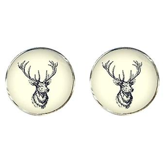Bassin and Brown Stags Head Cufflinks - White/black