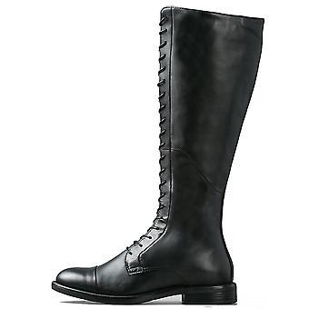 أحذية المتشرد المرأة مسطحة أمينة الركبة الشتاء الجلود الذكية عالية الأسود