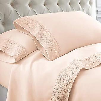 100% Cotton- 4-piece Crochet Lace Bed Sheet Set, Pink
