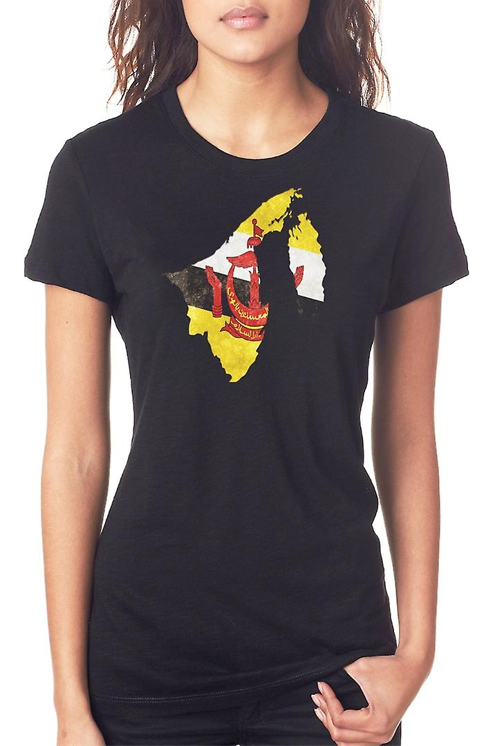 Brunei Bruneian Flag Map Ladies T Shirt