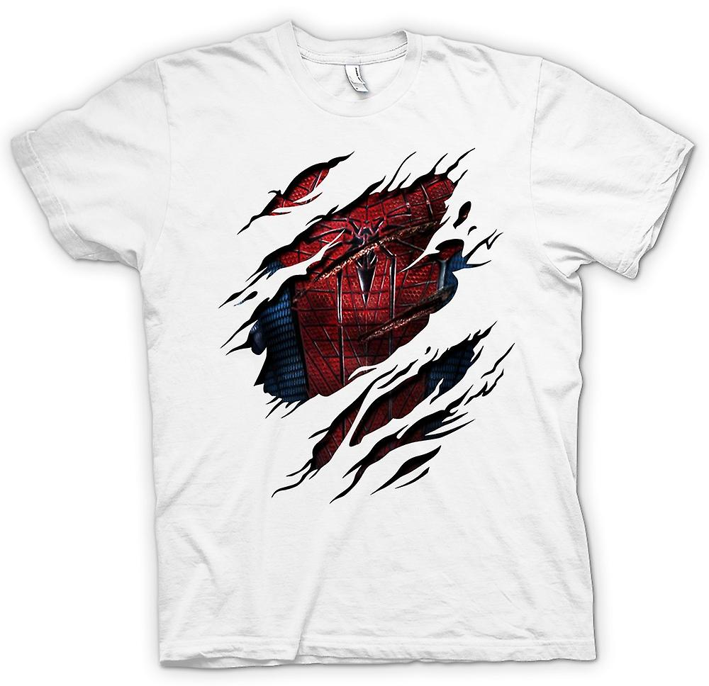 Mens t-skjorte - Spiderman kostyme - superhelt dratt Design