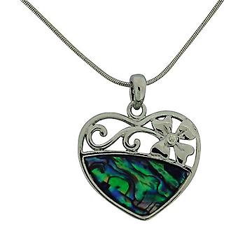 The Olivia Collection Large Green Paua Shell Heart Pendant 16