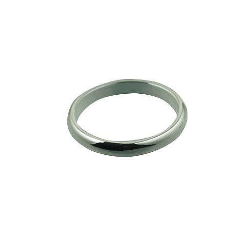 Silver 3mm plain D shaped wedding ring
