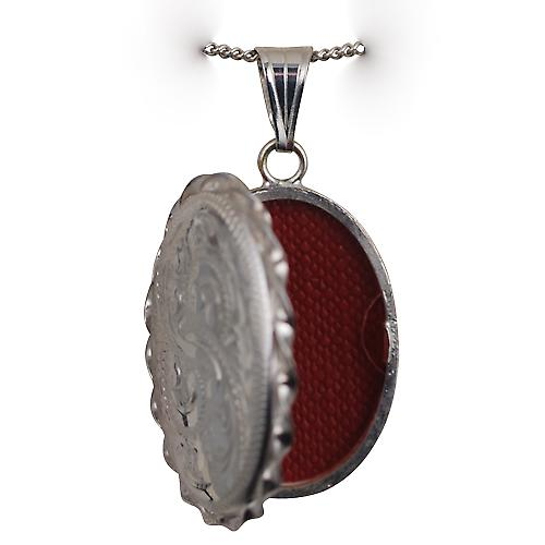 Silver 29x22mm hand engraved twisted wire edge oval Locket with a curb Chain 20 inches