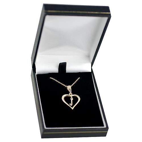 9ct Gold 18x18mm initial J in a heart with Cable link chain