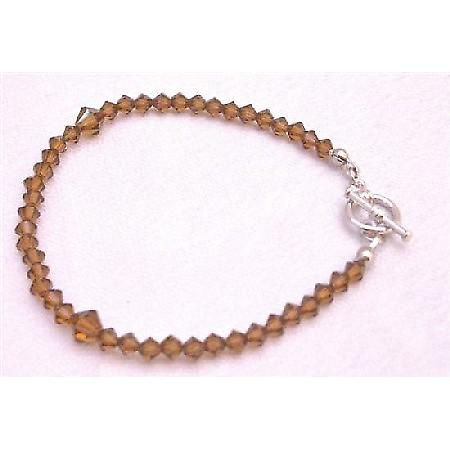 Brown Dress Smoked Topaz Crystals Bracelet Wedding Jewelry