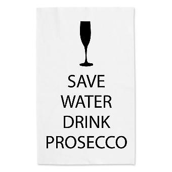 Сохранить воду напиток Просекко белое полотенце чай черный текст