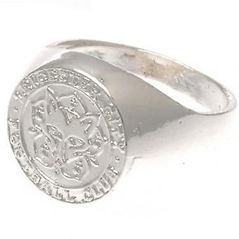 Leicester City Silver Plated Crest Ring Medium