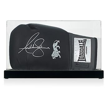 Anthony Joshua Signed Black Boxing Glove In Display Case