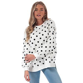 Womens Only Chili Dot Sweatshirt In Cloud Dancer / Black