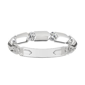 14K białe złoto Moissanite przez Charles & Colvard 2mm okrągły Fashion Ring, 0,40 cttw DEW