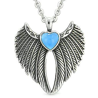 Angel Wings Magic Heart Protection Powers Amulet Aqua Blue Simulated Cats Eye Pendant 18 inch Necklace