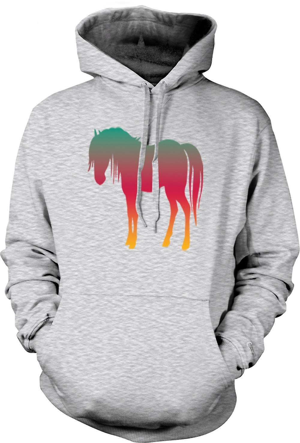Mens Hoodie - Rainbow Design Cheval psychédélique